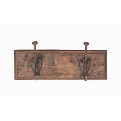 Gause Rustic Rectangular Antique Wall Mounted Coat Rack