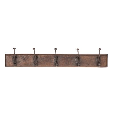 Gayden Rustic Rectangular Antique Wall Mounted Coat Rack