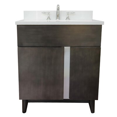 "Galvez 31"" Single Bathroom Vanity Set Color: White Quartz"