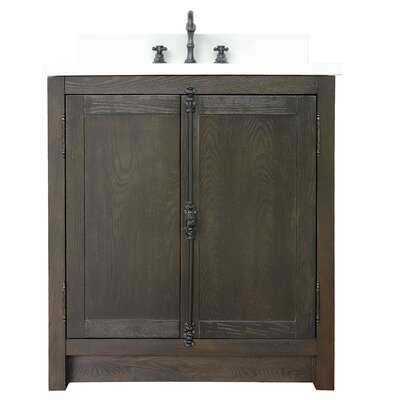 "Ziemer 31"" Single Bathroom Vanity Set Color: Brown Ash/White Quartz"