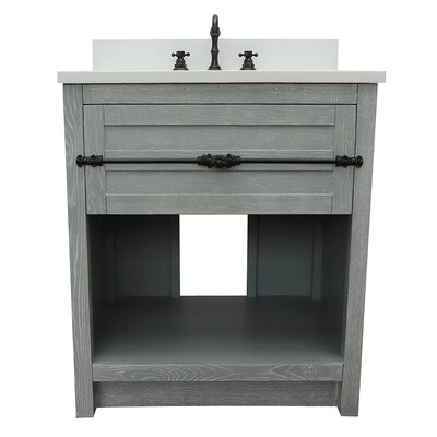 "Zimmer 31"" Single Bathroom Vanity Set Color: Gray Ash/White Quartz"
