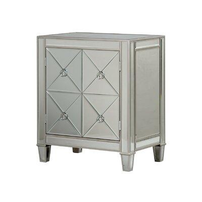 Monroe Street Beveled Mirror 2 Door Accent Cabinet