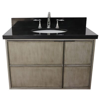 "Wilkes 37"" Wall Mounted Single Bathroom Vanity Set Color: Black Galaxy"