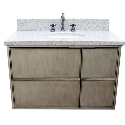 "Wilkes 37"" Wall Mounted Single Bathroom Vanity Set Color: Gray Granite"