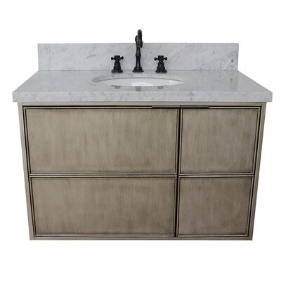 "Wilkes 37"" Wall Mounted Single Bathroom Vanity Set Color: White Carrara"