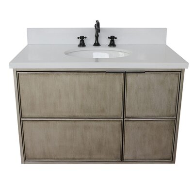 "Wilkes 37"" Wall Mounted Single Bathroom Vanity Set Color: White Quartz"