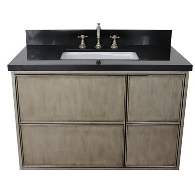 "Wilkin 37"" Wall Mounted Single Bathroom Vanity Set Color: Black Galaxy"