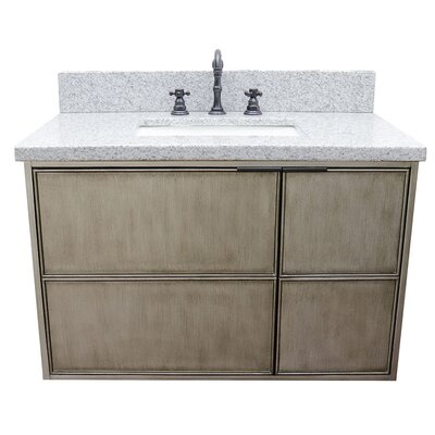 "Wilkin 37"" Wall Mounted Single Bathroom Vanity Set Color: Gray Granite"