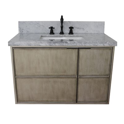 "Wilkin 37"" Wall Mounted Single Bathroom Vanity Set Color: White Carrara"