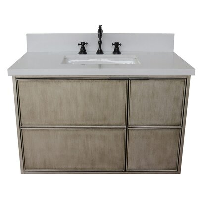 "Wilkin 37"" Wall Mounted Single Bathroom Vanity Set Color: White Quartz"