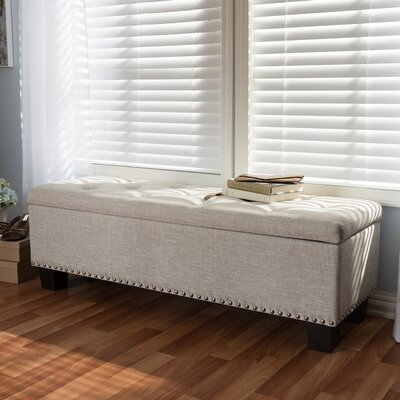 Back Bay Upholstered Storage Bench Upholstery Color: Beige
