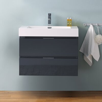 "Senza Valencia 30"" Wall Mounted Single Bathroom Vanity Set Base Finish: Dark Slate Gray"