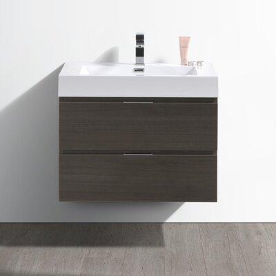 "Senza Valencia 30"" Wall Mounted Single Bathroom Vanity Set Base Finish: Gray Oak"