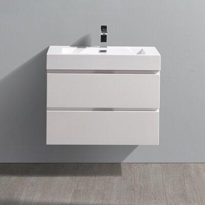 "Senza Valencia 30"" Wall Mounted Single Bathroom Vanity Set Base Finish: Glossy White"