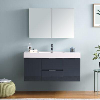 "Senza Valencia 48"" Wall Mounted Single Bathroom Vanity Set Base Finish: Dark Slate Gray"