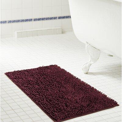 """Deavers Bath Rug Size: 17"""" W x 24"""" L, Color: Burgundy"""