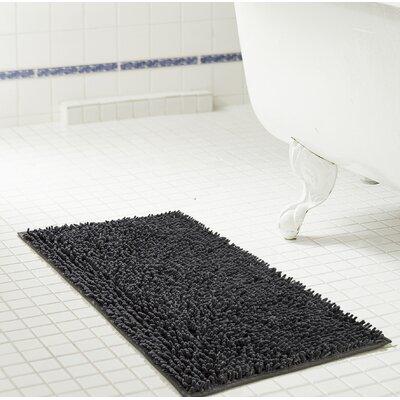 """Deavers Bath Rug Size: 17"""" W x 24"""" L, Color: Charcoal"""