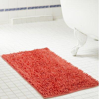 """Deavers Bath Rug Size: 17"""" W x 24"""" L, Color: Coral"""