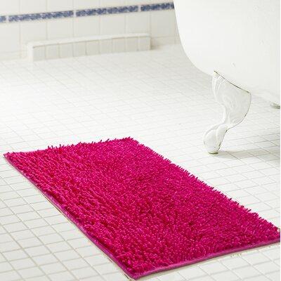 "Deavers Bath Rug Size: 17"" W x 24"" L, Color: Fuchsia"