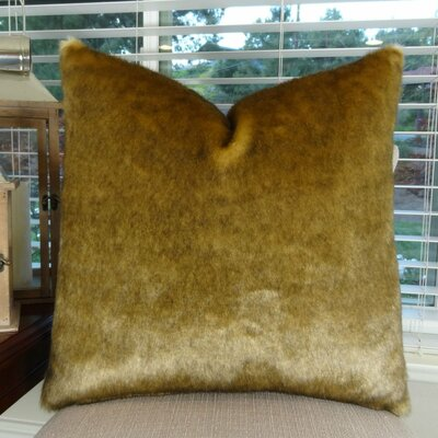 """Waggoner Luxury Sable Mink Faux Fur Pillow Size: 26"""" x 26"""", Fill Material: Cover Only - No Insert"""