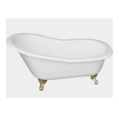 "61"" x 31"" Freestanding Soaking Bathtub Feet Finish: Polished Brass"