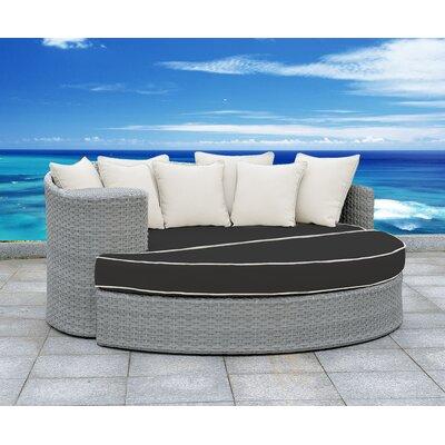 Arbelaez 2 Piece Rattan Deep Sofa Set Cushion Color: Black/White, Accent Pillow Fabric: White