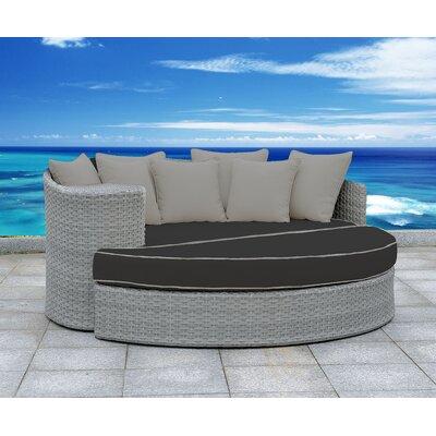 Arbelaez 2 Piece Rattan Deep Sofa Set Cushion Color: Black/Gray, Accent Pillow Fabric: Gray
