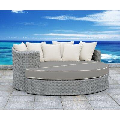 Arbelaez 2 Piece Rattan Deep Sofa Set Cushion Color: Gray/White, Accent Pillow Fabric: White