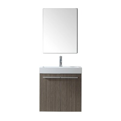 """Frausto 23"""" Wall-Mounted Single Bathroom Vanity Set with Mirror Faucet Finish: Brushed Nickel"""