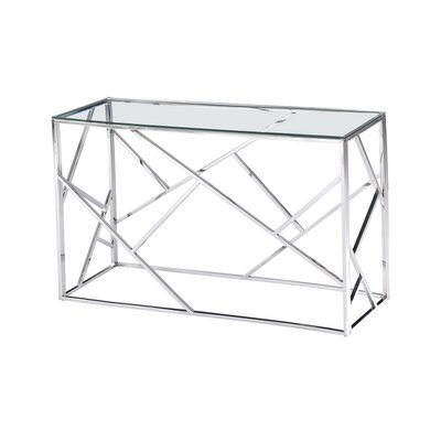 Welton Angled Console Table Table Base Color: Silver