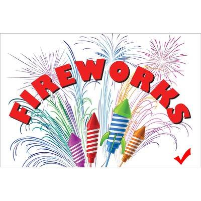 "Fireworks Banner Size: 24"" H x 36"" W x 0.18"" D"