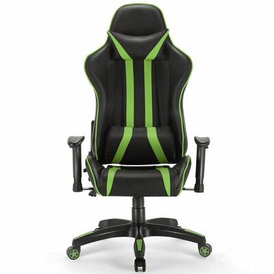 Ergonomic Game Chair Color (Upholstery/Frame): Black/Green