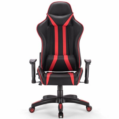 Ergonomic Game Chair Color (Upholstery/Frame): Black/Red