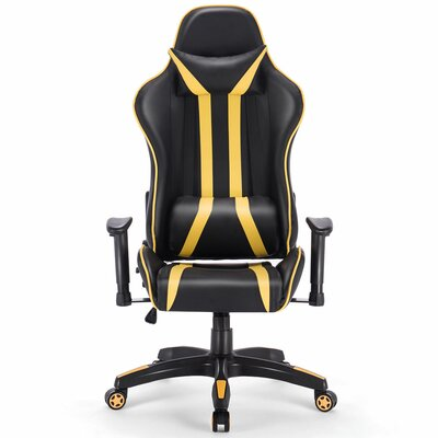 Ergonomic Game Chair Color (Upholstery/Frame): Black/Yellow