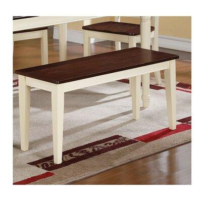 Rethman Wooden Bench Color: Brown/Cream