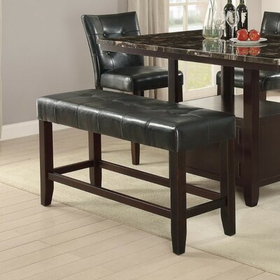 Parenteau Wood Bench Upholstery: Black