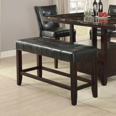 Parenteau Wood Bench Upholstery: Black