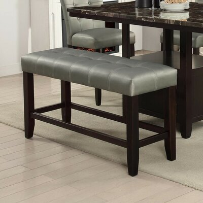 Parenteau Wood Bench Upholstery: Silver
