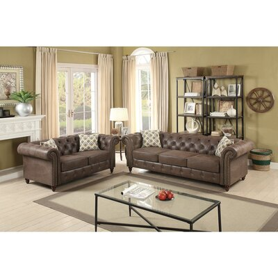 Laguerre 2 Piece Living Room Set Upholstery: Coffee Brown