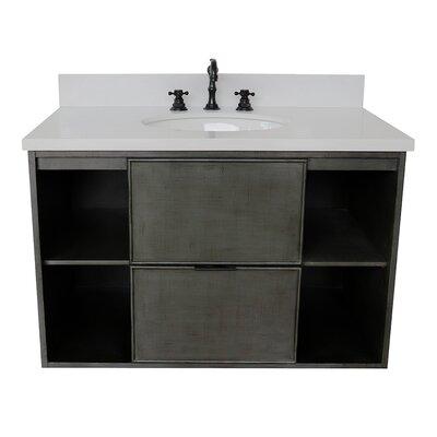 "Artimacormick 37"" Wall Mounted Single Bathroom Vanity Color: White Quartz"