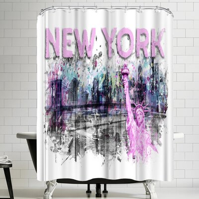 Melanie Viola Modern Art New York City Skyline Shower Curtain Color: White/Gray/Eggplant/Purple