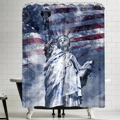 Melanie Viola Modern Art Statue Of Liberty Shower Curtain Color: Blue/Gray/Red/Violet