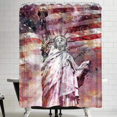 Melanie Viola Modern Art Statue Of Liberty Shower Curtain Color: Silver/Copper/White/Brick/Red