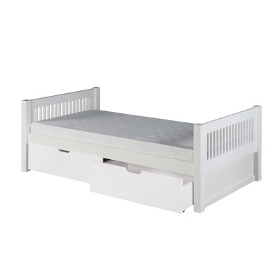 Garrett Twin Platform Bed with Drawers Bed Frame Color: White