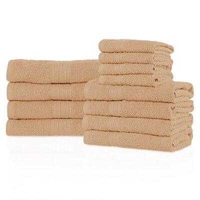Kellerman 12 Piece 100% Cotton Towel Set Color: Camel