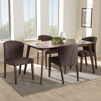 Dingler Mid-Century Wood 5 Piece Dining Set Chair Color: Brown