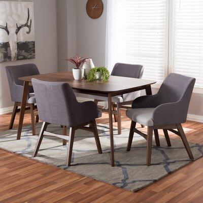 Dinger Mid-Century Wood Rectangular 5 Piece Dining Set