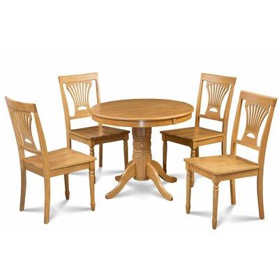 Kelston Mills Solid Wood 5 Piece Dining Set Table Top Color: Oak, Table Base Color: Oak