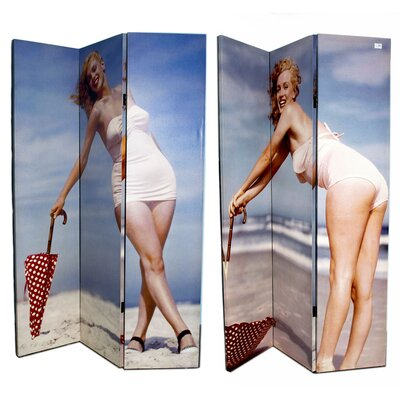 Henslee Marilyn Monroe by the Beach 3 Panel Room Divider