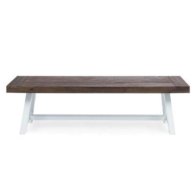 Osbourne Wood Dining Bench Color: Sandblast Dark Brown/White